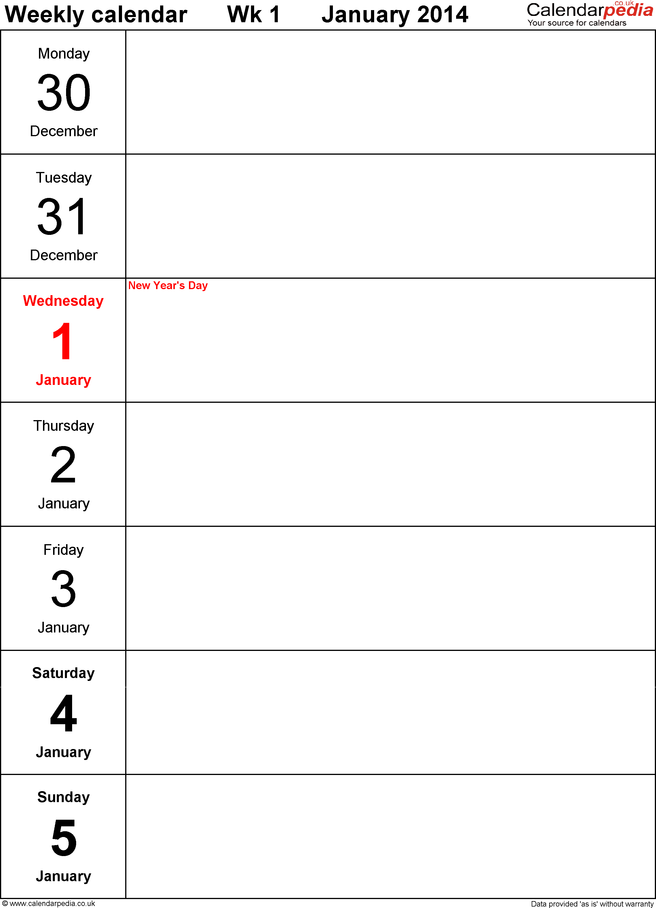 8 best images of printable weekly planner template 2014 for Fillable calendar template 2014