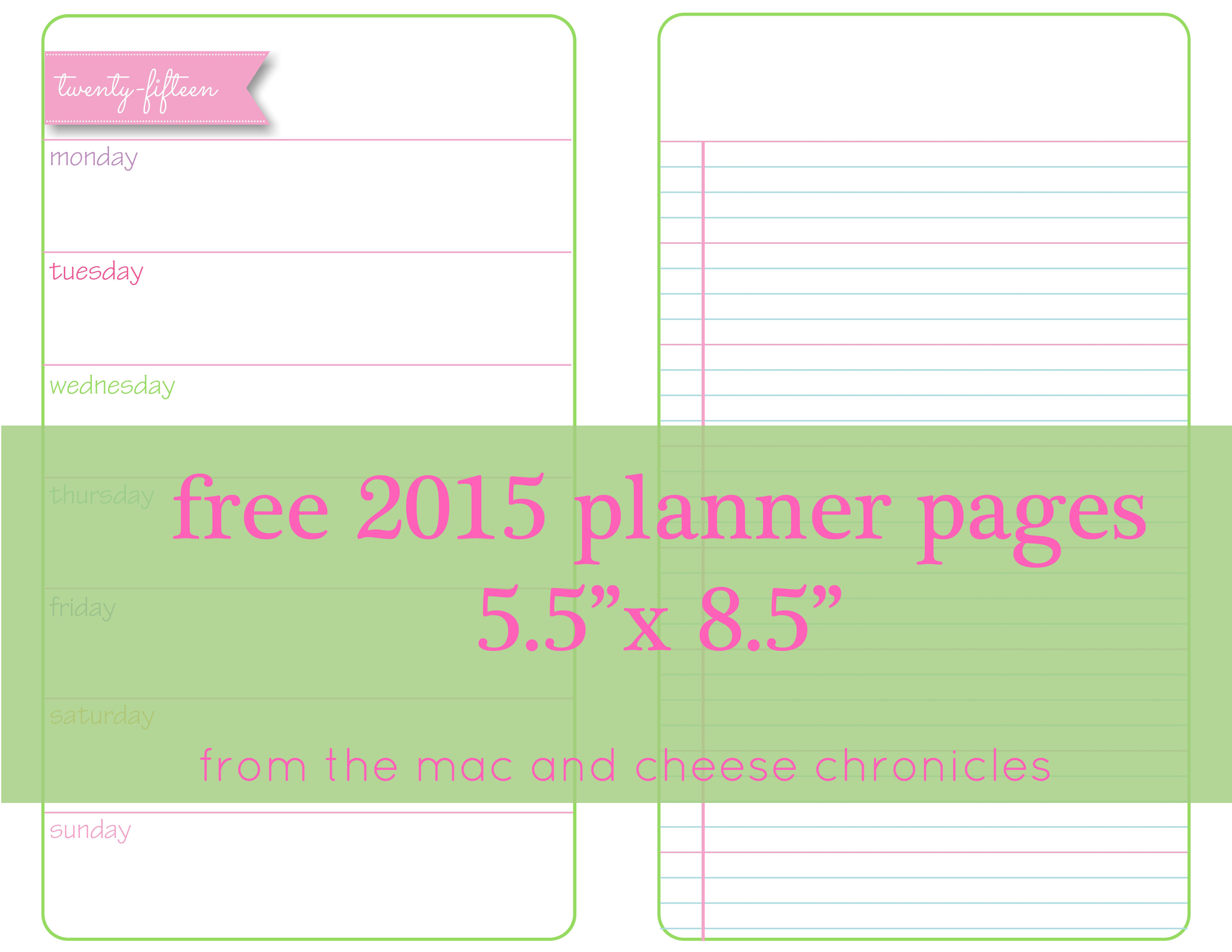 9 Images of Printable Weekly Planner Pages 2015