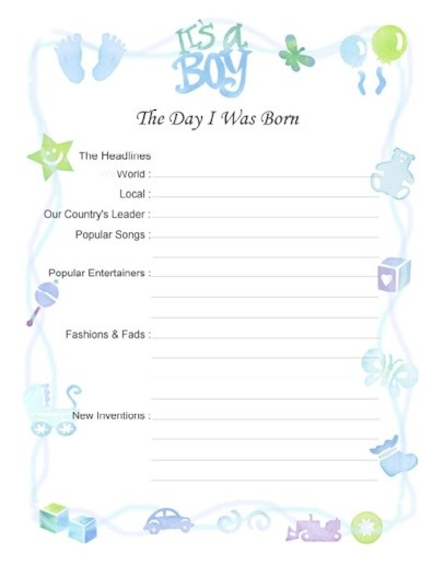 6 Images of Printable Baby Boy Scrapbook Pages