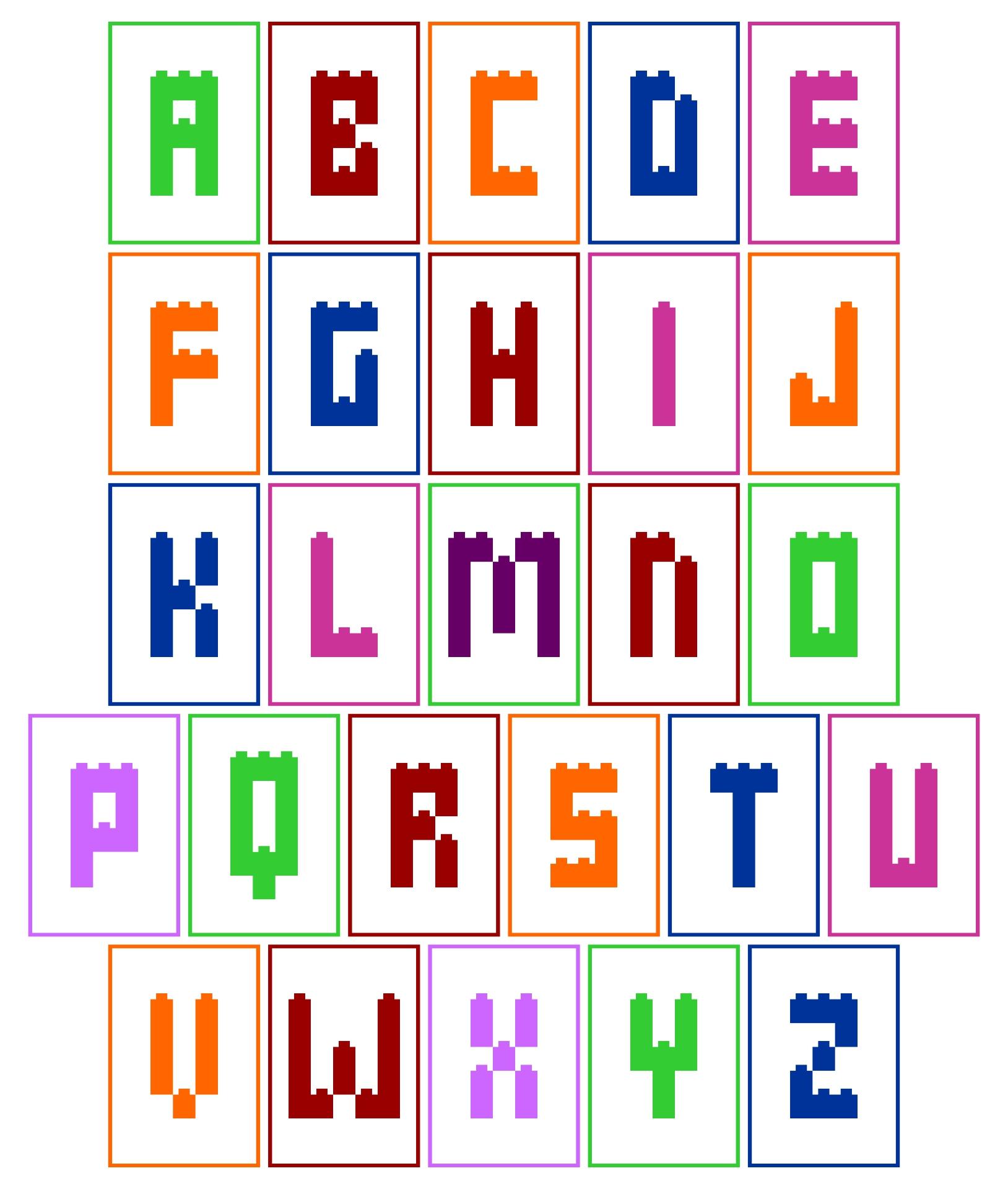Uppercase Alphabet Printable LEGO Cards