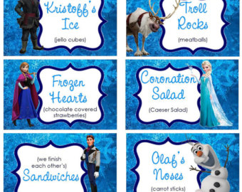 8 Images of Frozen Food Labels Free Printable Birthday Party