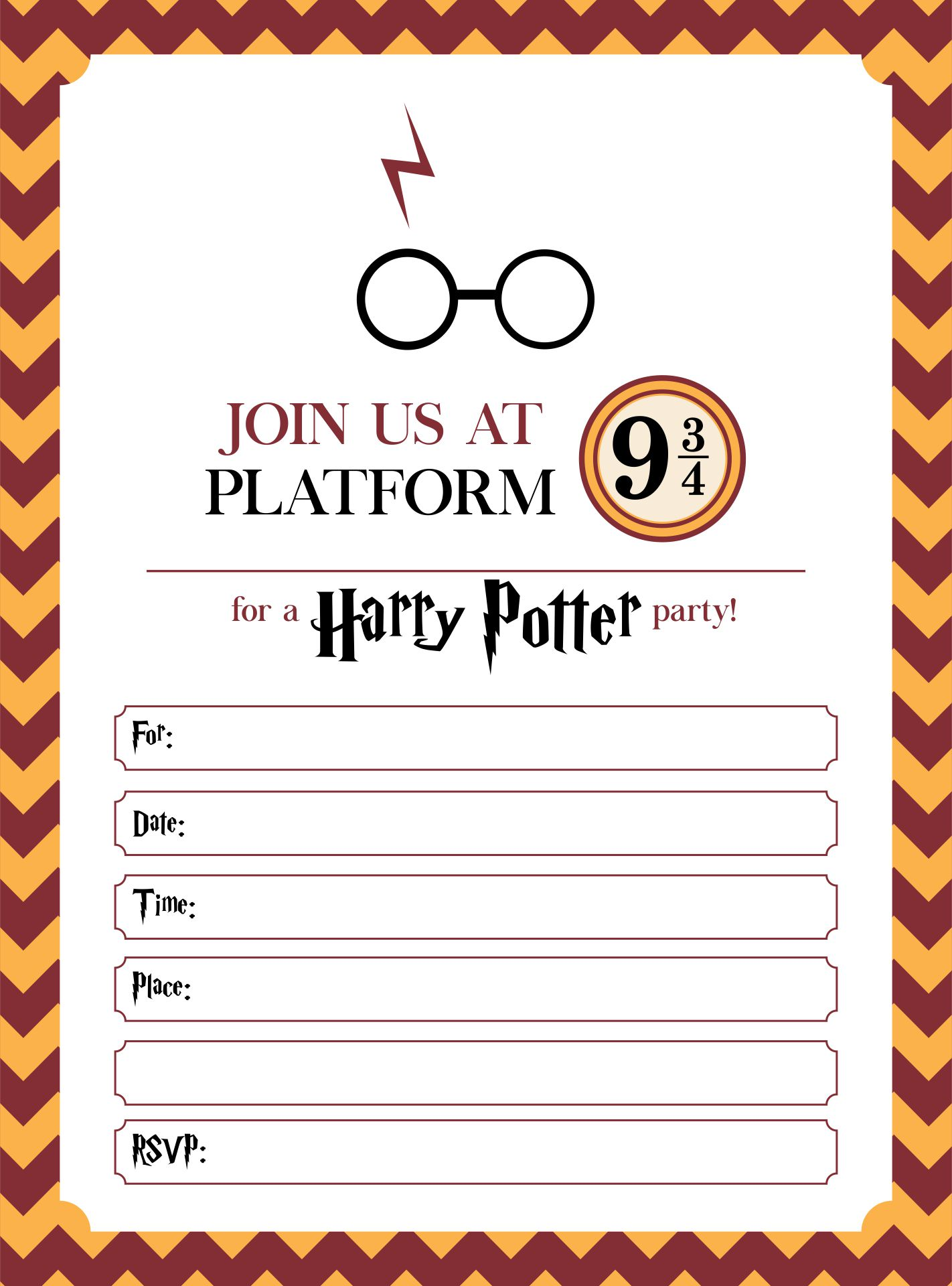 9 Images of Harry Potter Invitation Printables Free