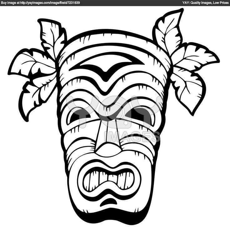 Hawaiian Tiki Coloring Pages