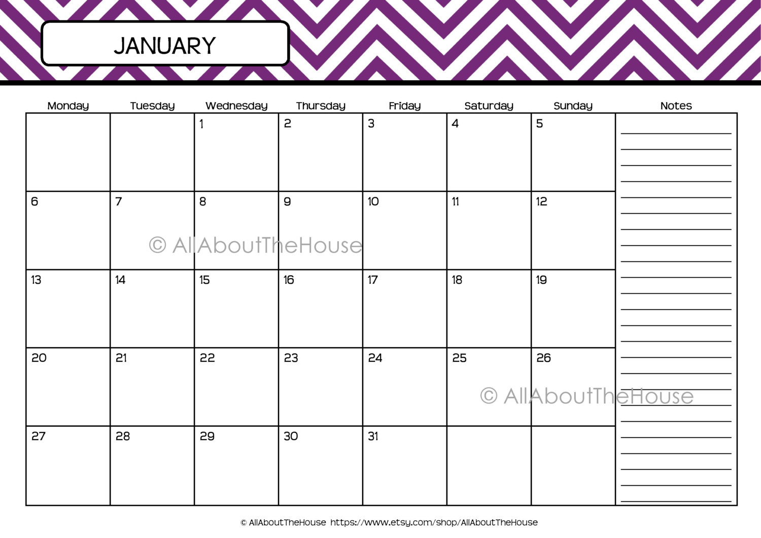 January 2016 Monthly Calendar Printable