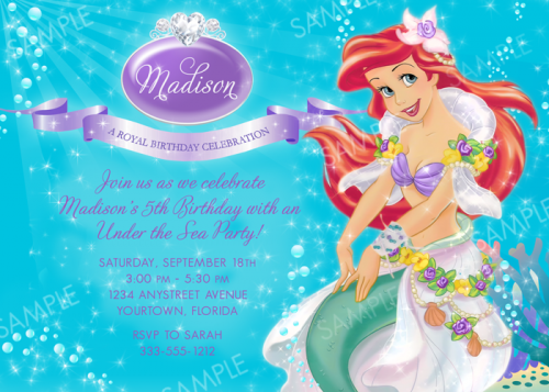 5 Images of Printable Ariel Party