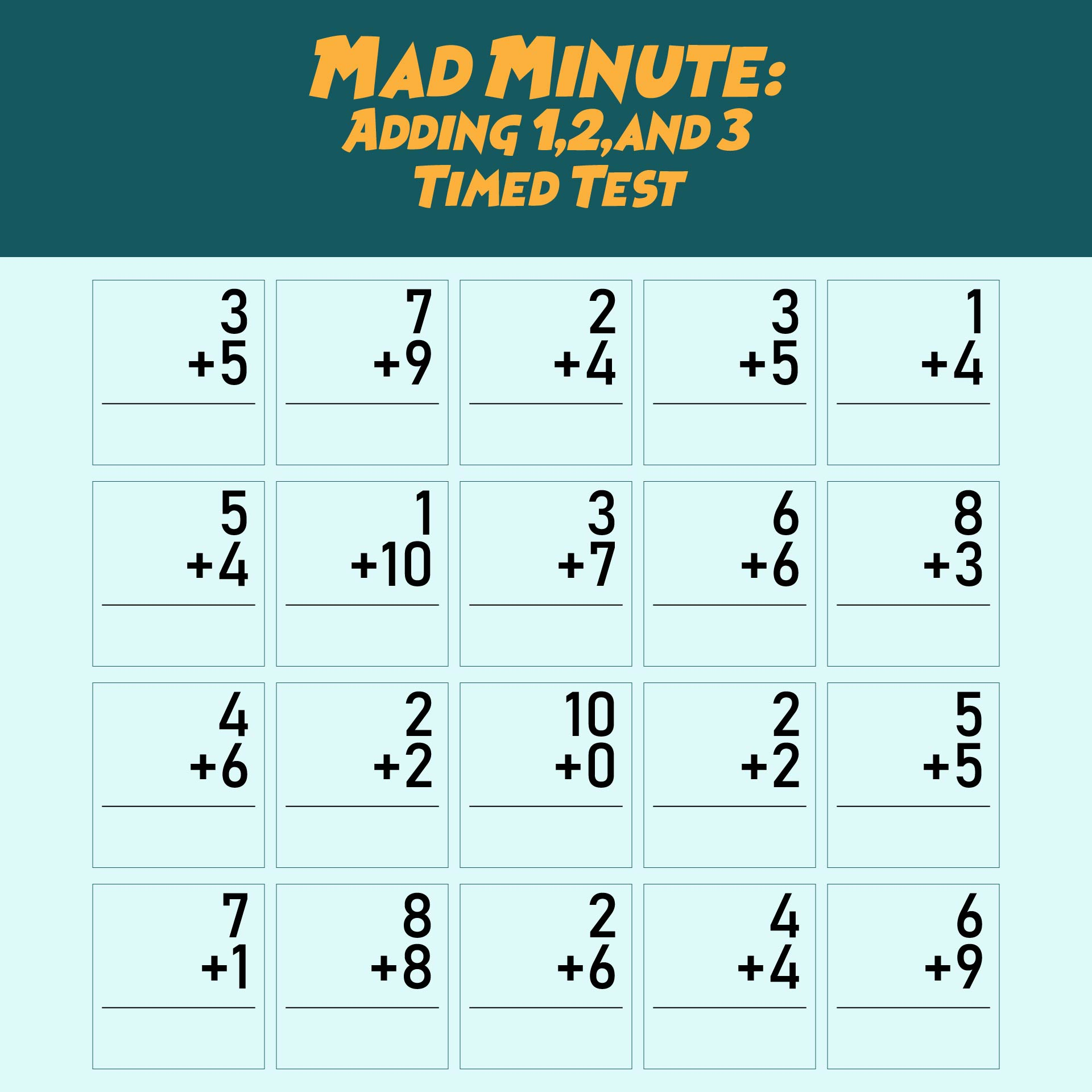 Mad Minute Math Addition Worksheets Free Worksheets Library – Mad Minute Math Worksheets Printable