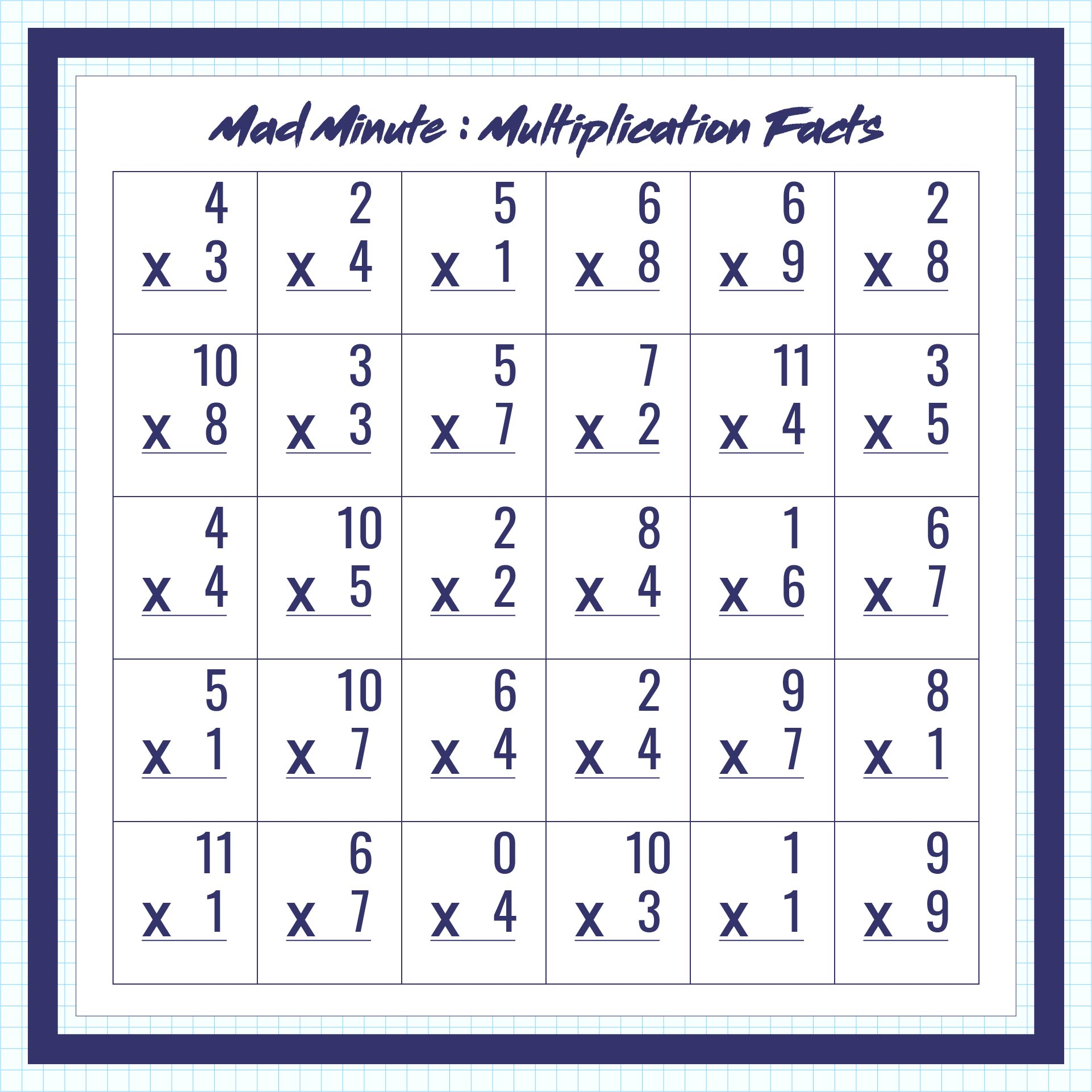 math worksheet : 7 best images of printable math addition drill 13  mad minute  : Mad Minute Math Multiplication Worksheets