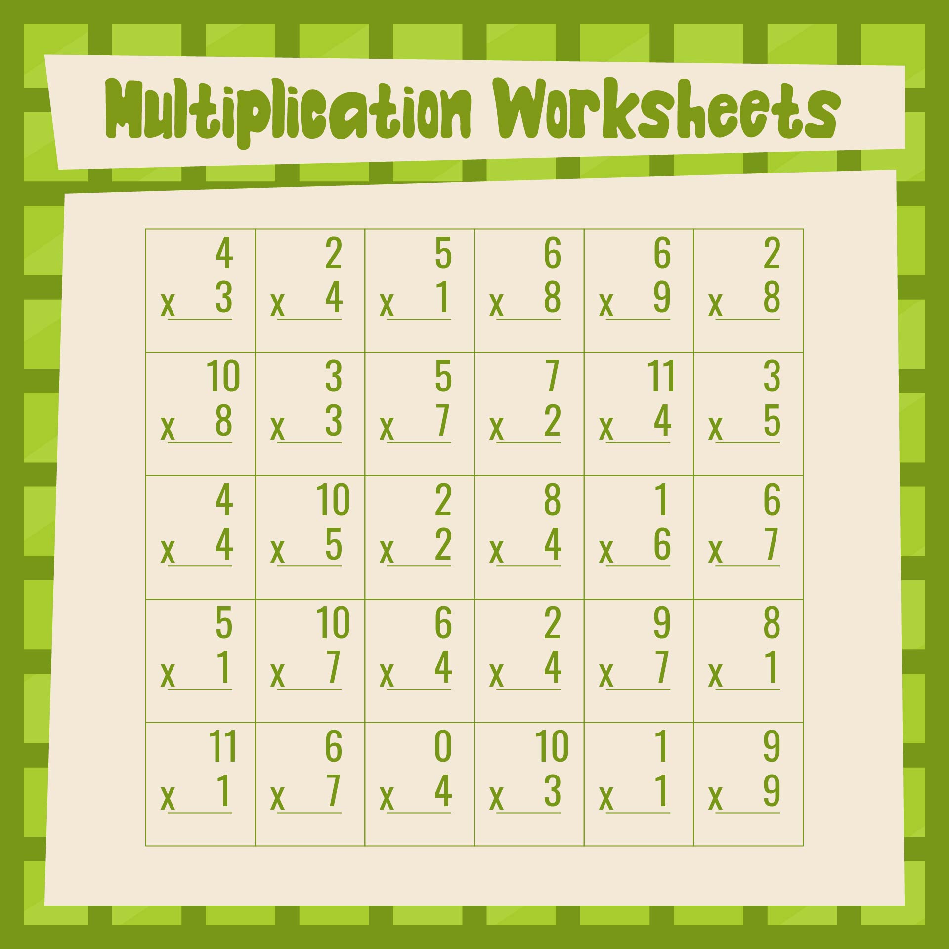 Mad Minute Multiplication Printable Worksheets