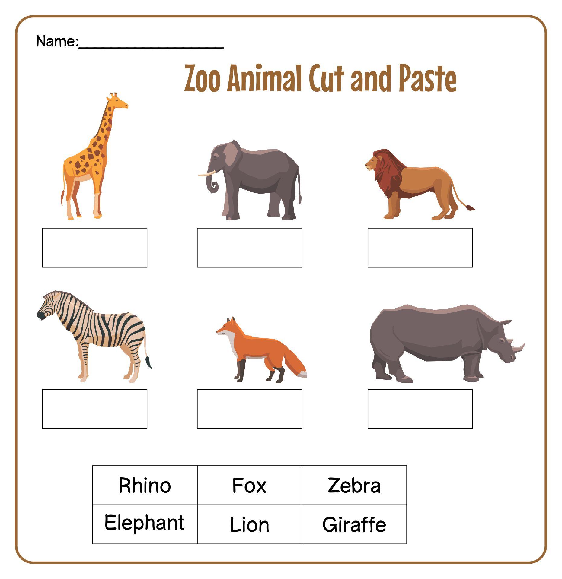 Preschool Printables Zoo Animals