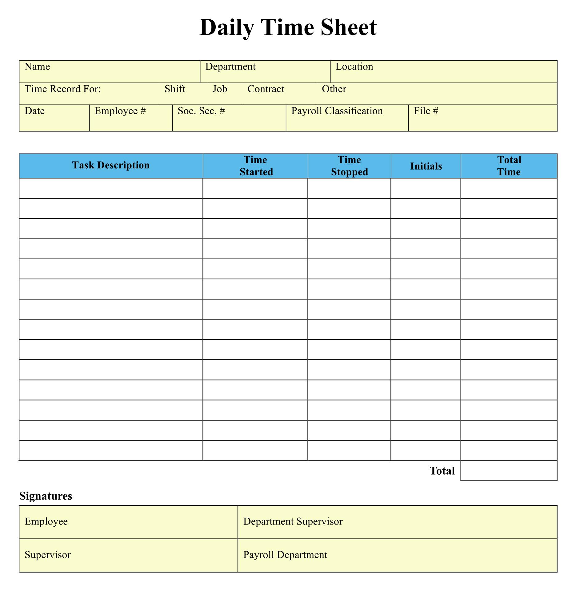 8 Best Blank Printable Timesheets Printablee Com