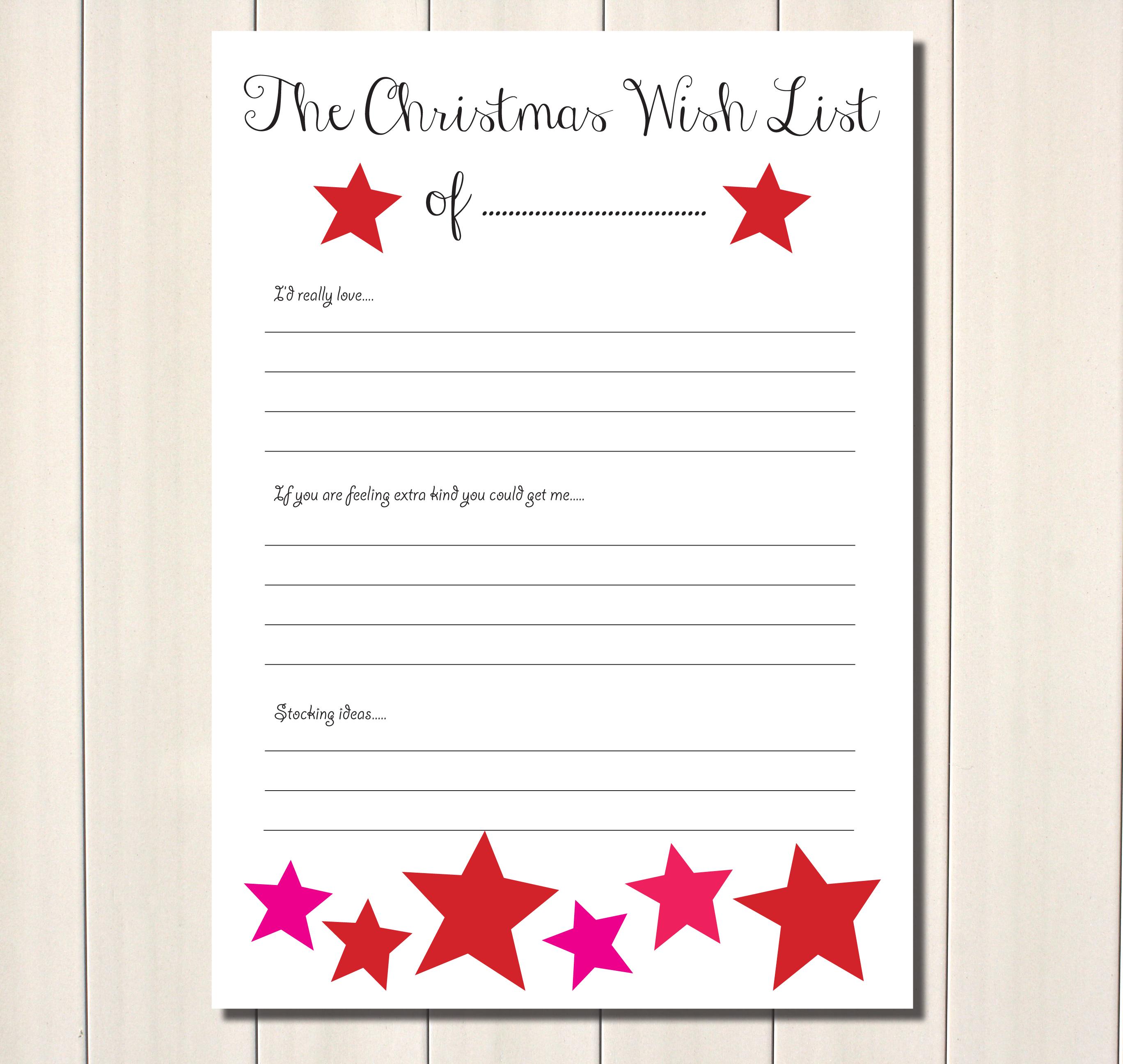 6 Best Wish List Printable Printablee Com