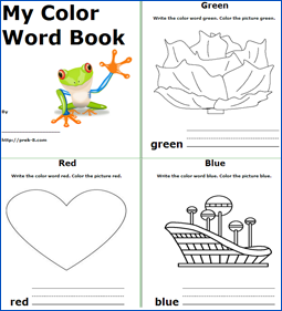 4 Images of Color Word Printable Books