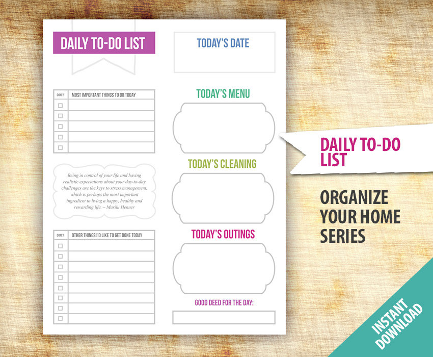 6 Images of Daily Task Printable Template