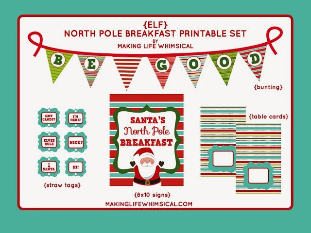 5 Images of North Pole Breakfast Printables