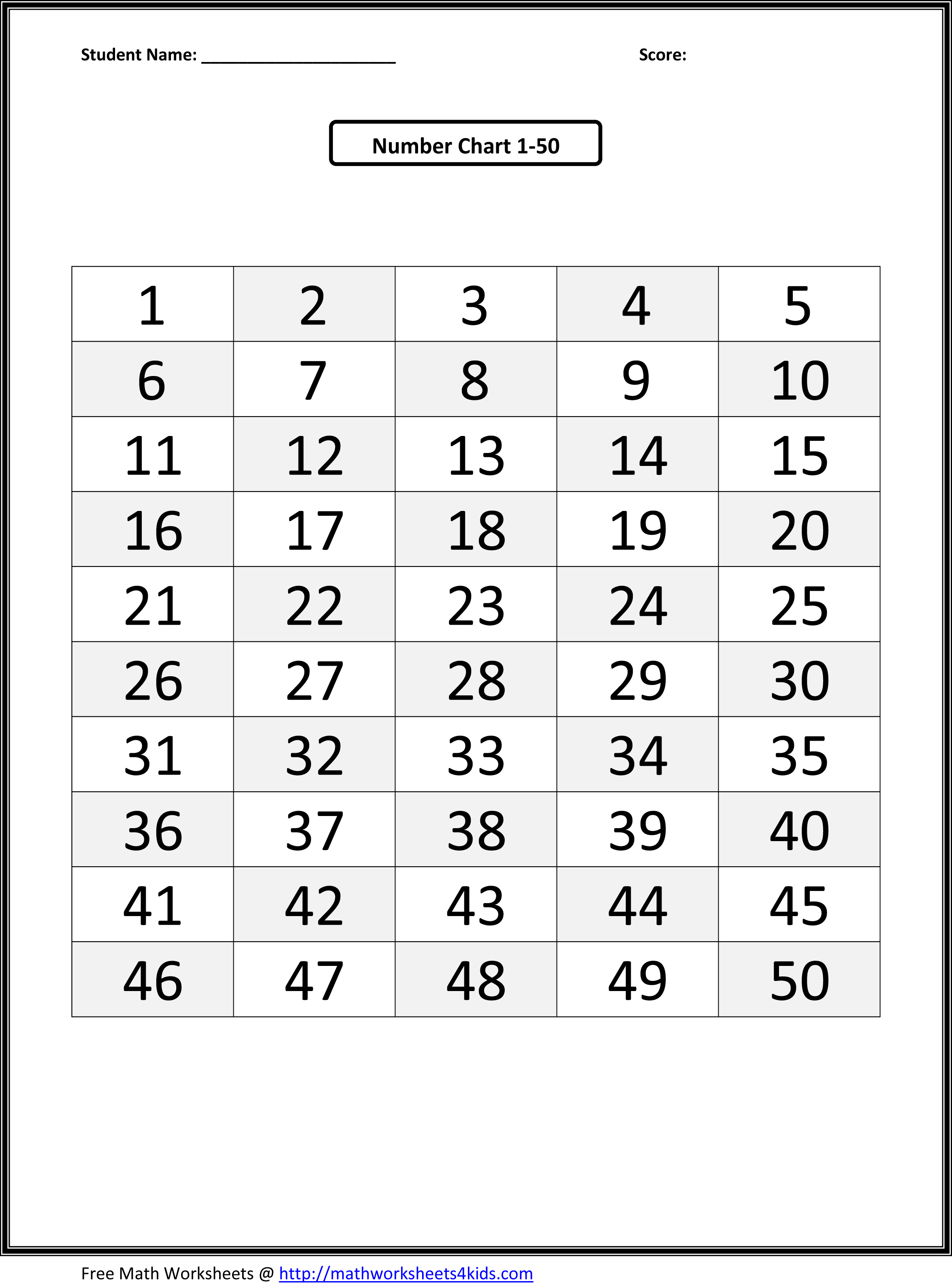 Printable Number 1 50 Worksheet