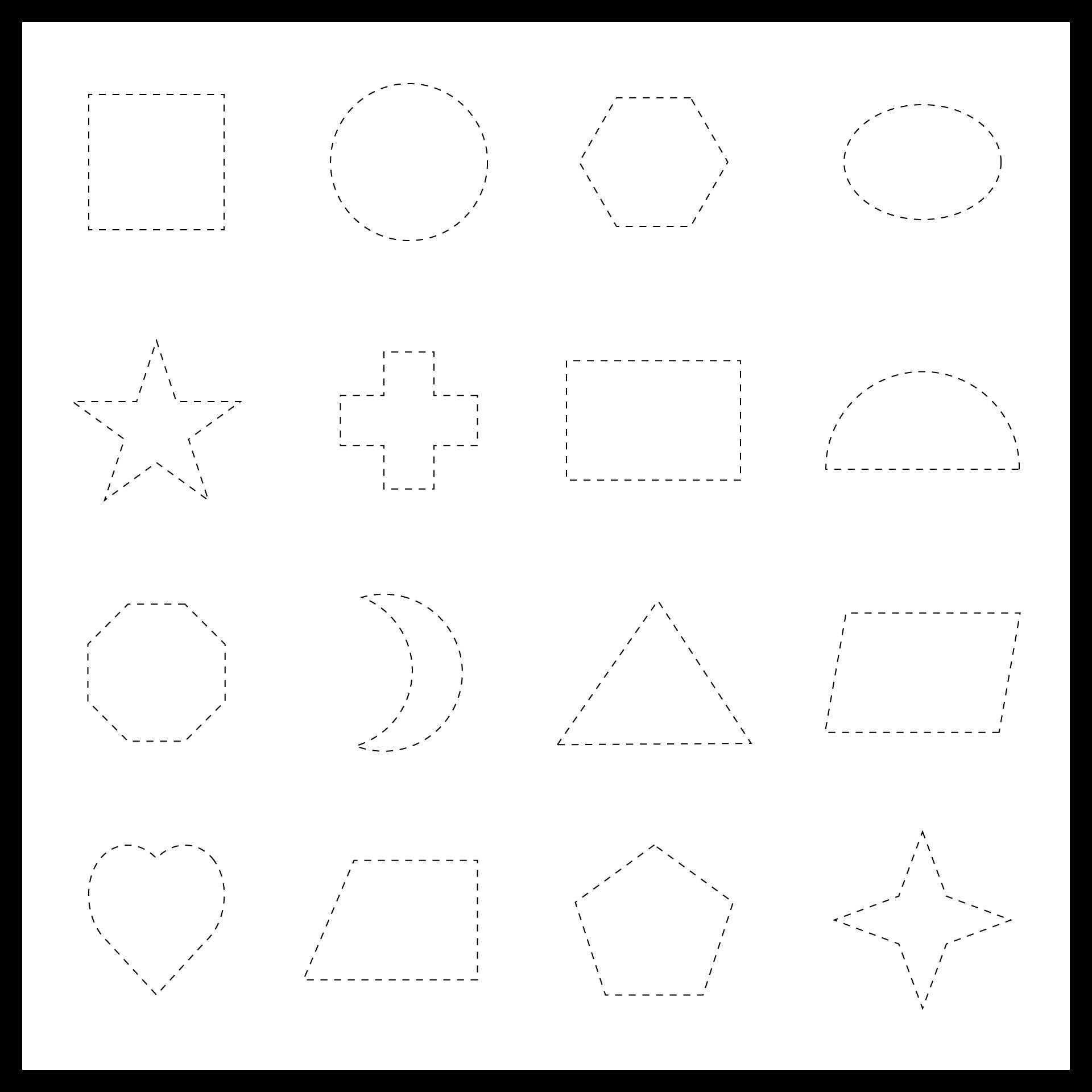 Printable Shape Tracing Worksheet