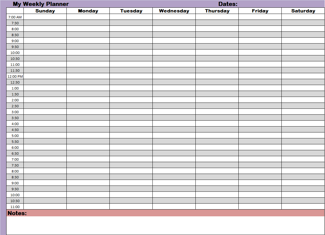 of Printable Daily Schedule With Time Slots - Free Printable Daily ...