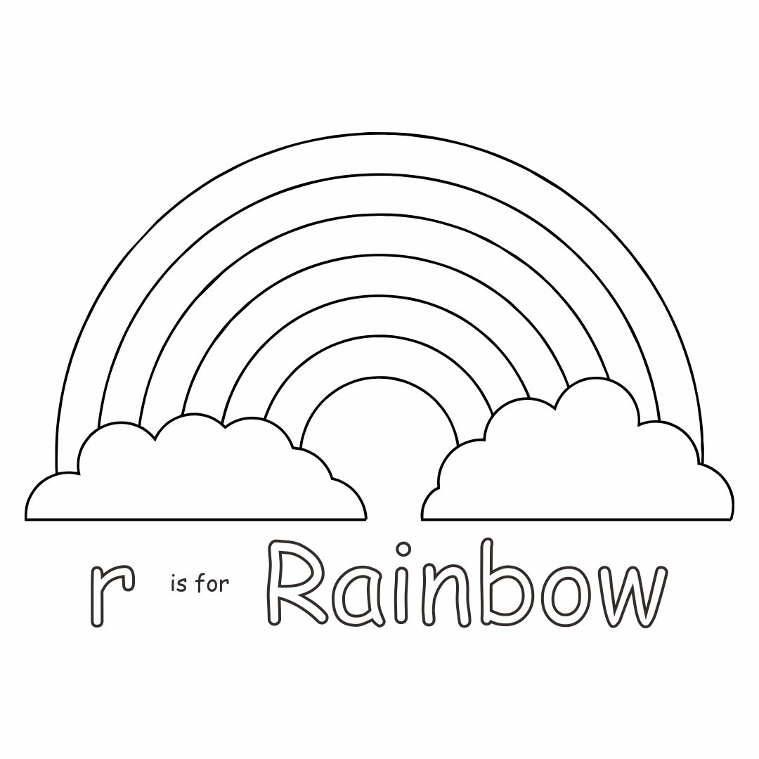 R Is for Rainbow Printable Coloring Pages
