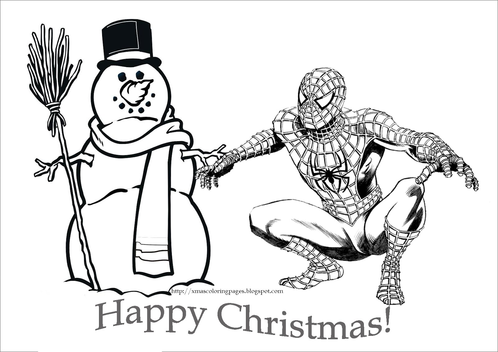 5 Images of Free Printable Christmas Cards To Color Spider-Man