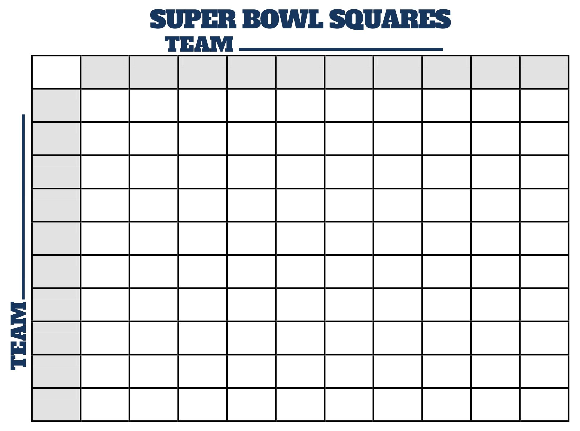 Super Bowl Football Squares Template Printable