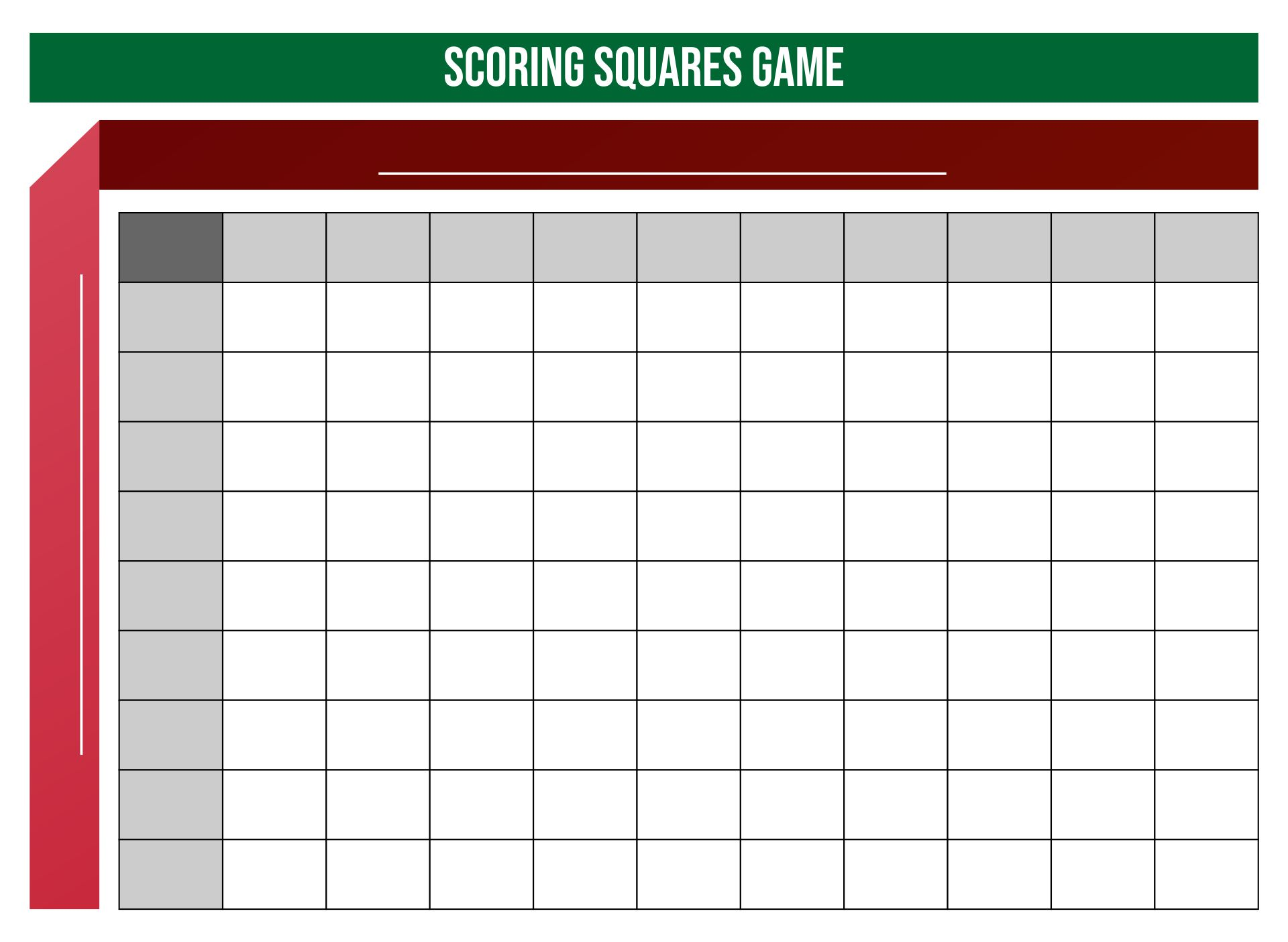 Super Bowl Football Squares Template