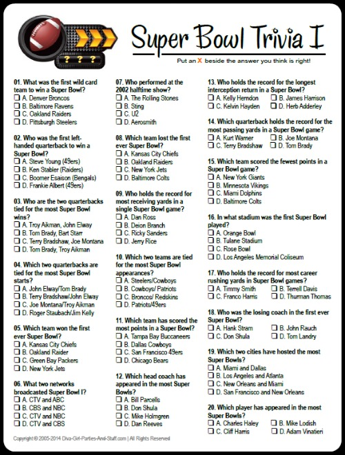 7 Images of Free Printable Football Trivia Questions