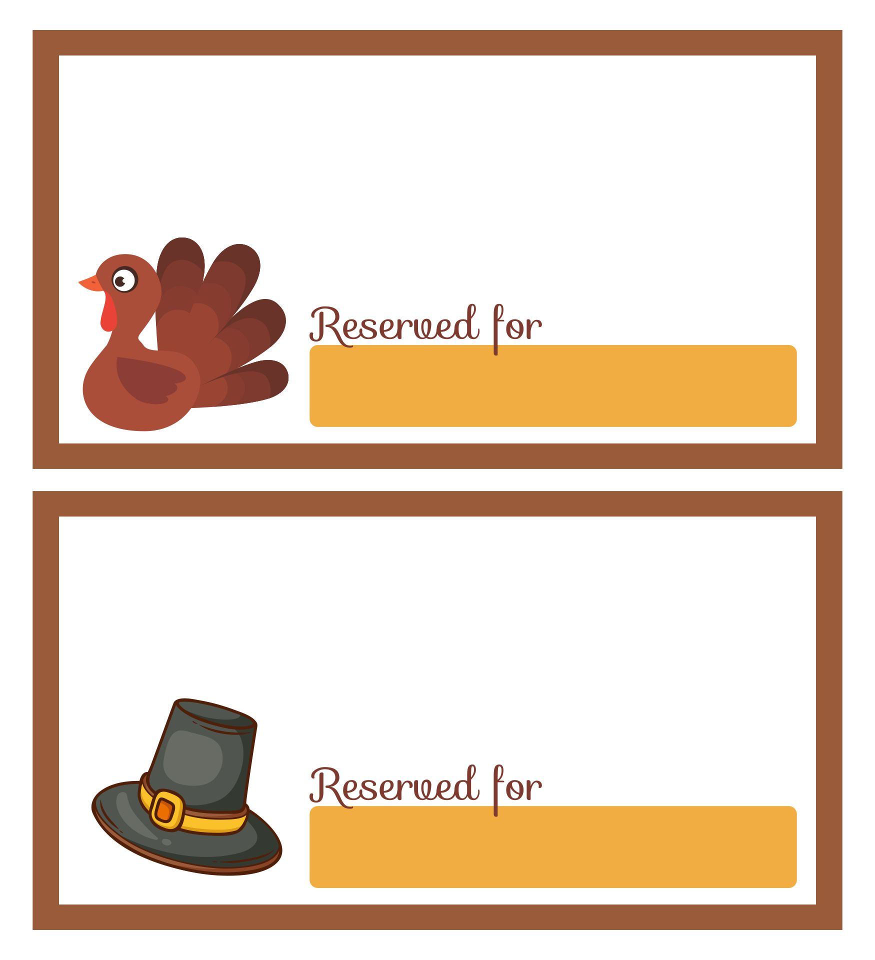Thanksgiving Place Card Templates Free