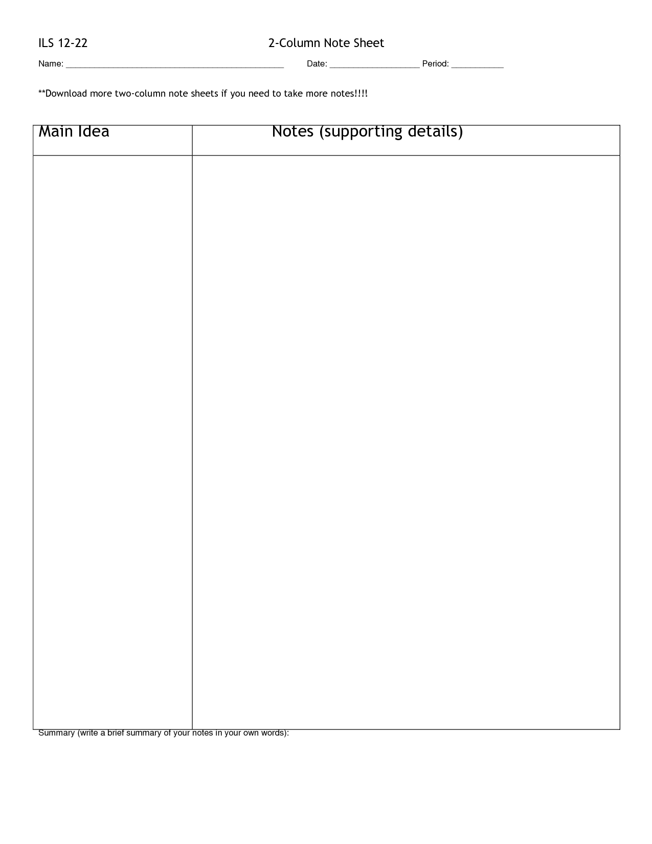 Column Notes Template. Two Column Notes Blank 2 Column Chart ...