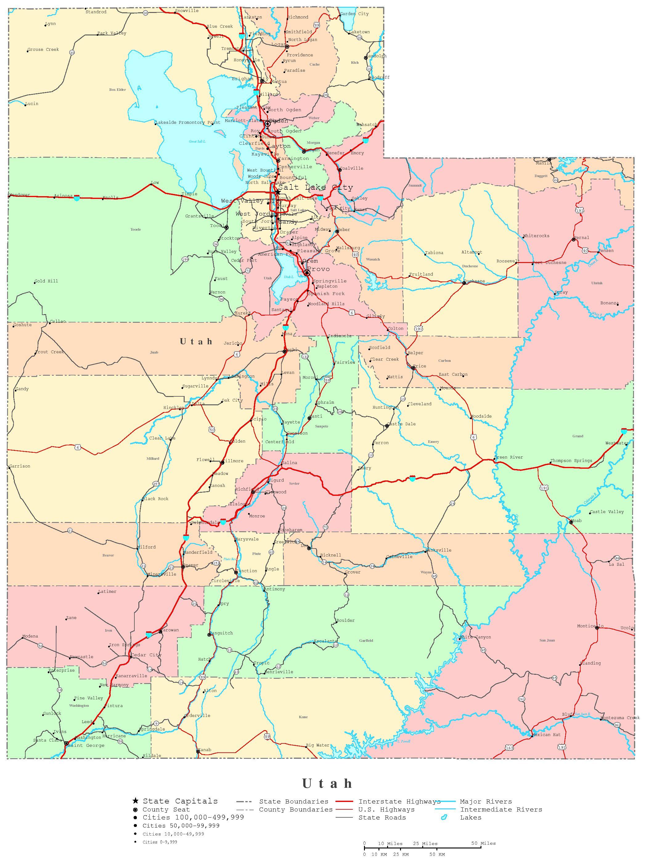 4 Images of Printable Road Map Of Utah