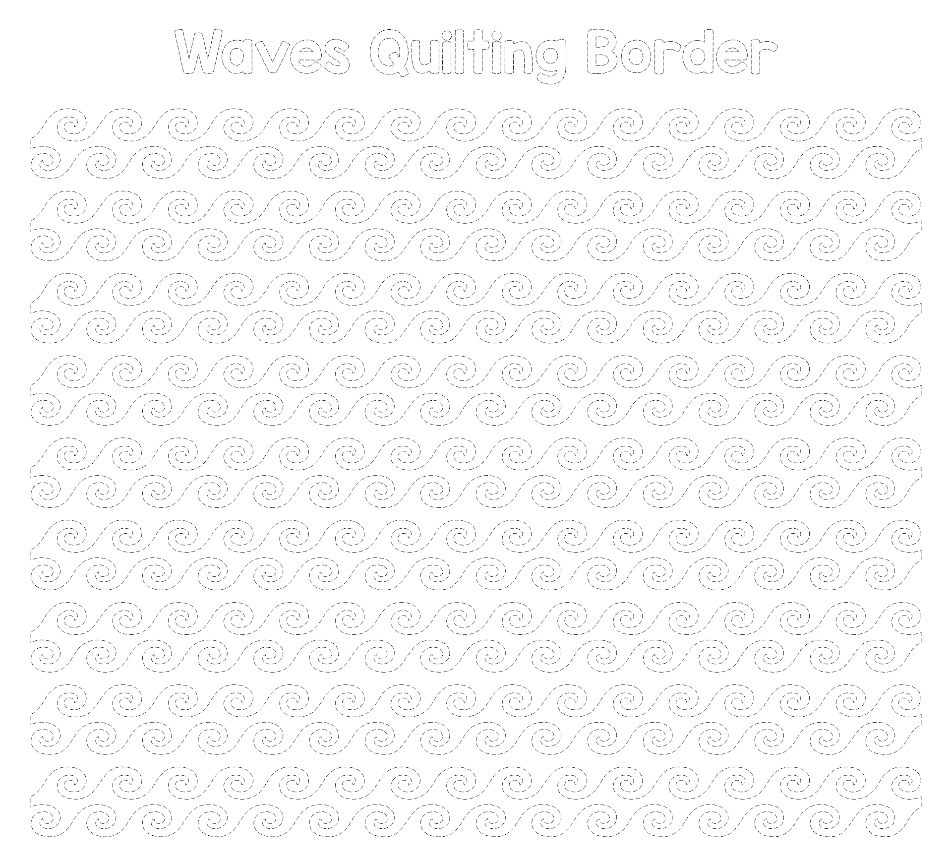 Waves Quilting Border Stencils Printable