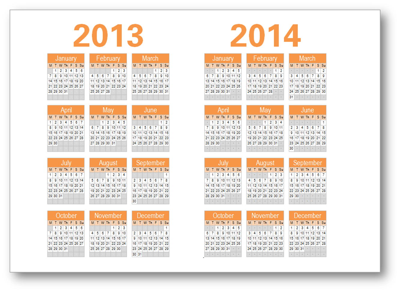 Year Calendar 2013 2014 Printable One Page