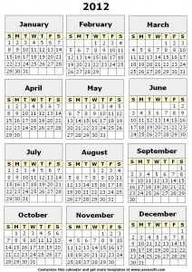 8 Images of Printable 12 Month Calendar 2012