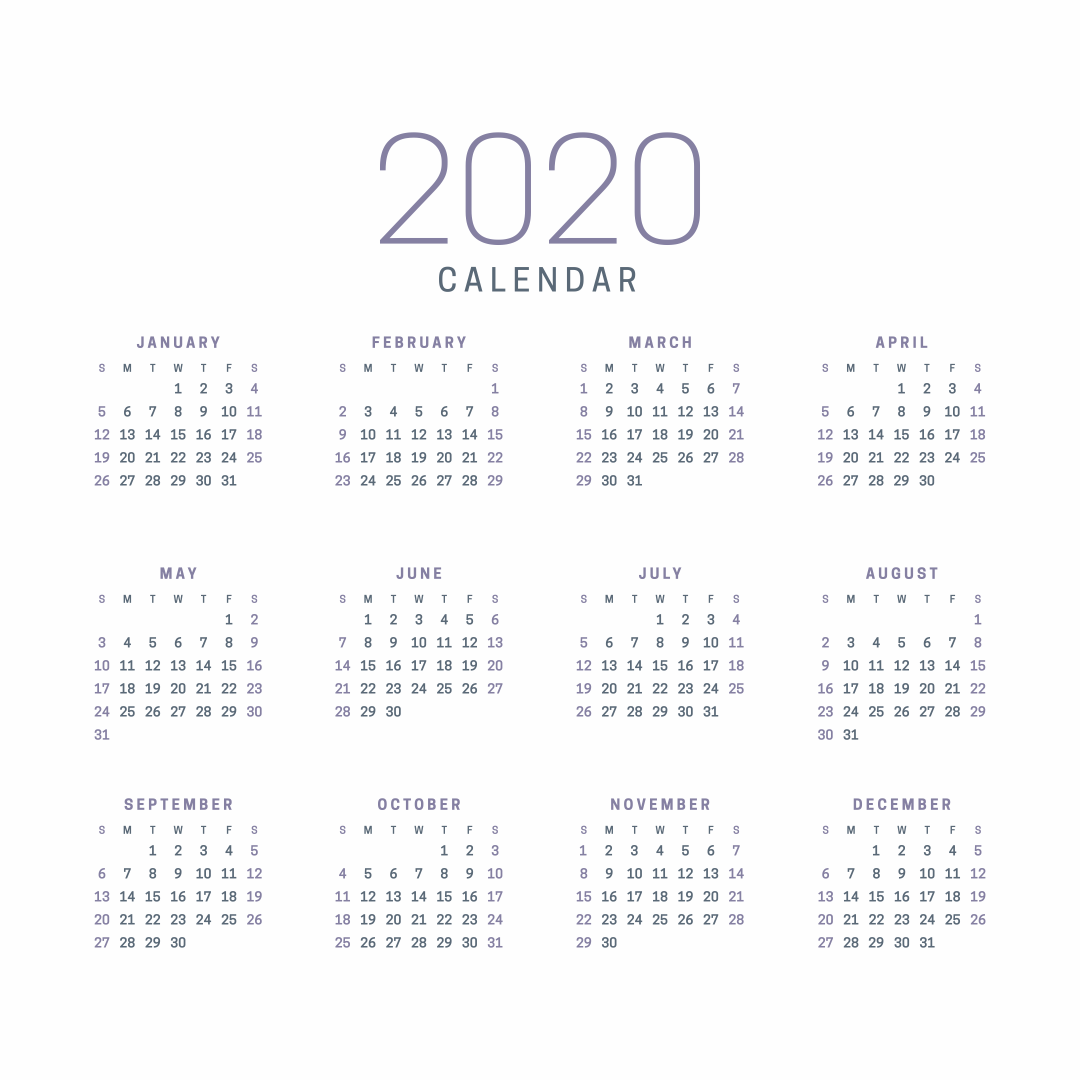Whole Year 2020 Calendar Printable