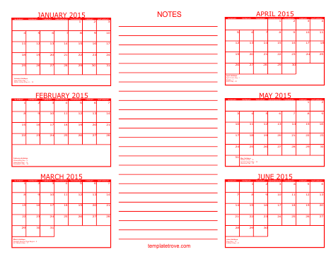 5 Images of Printable 2015 6 Month Calendar Template