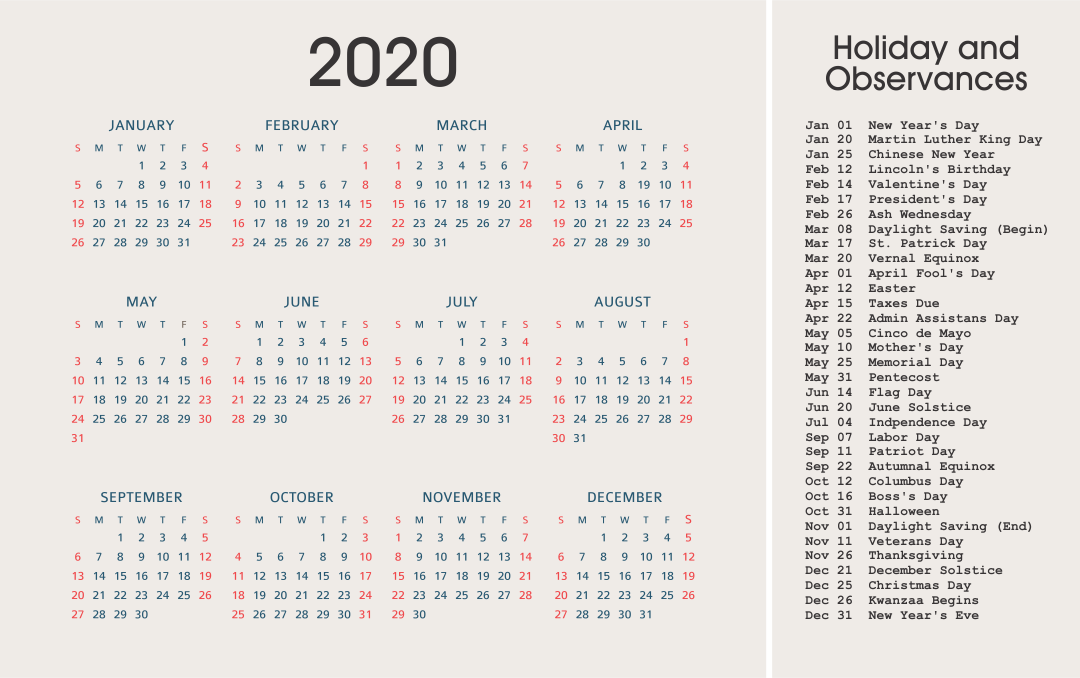 2020 Yearly Calendar Printable - Complete with US Holiday List