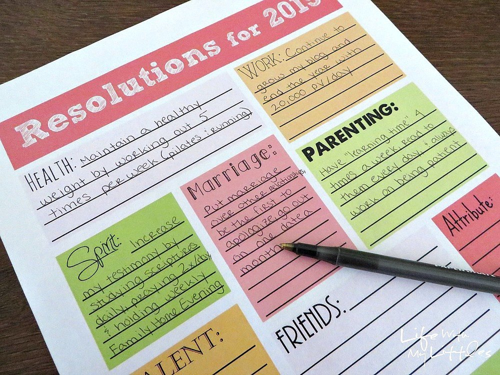 5 Images of New Year's Resolution Printables 2015