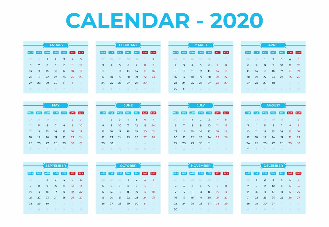 2020 Yearly Calendar Printable in blue color theme