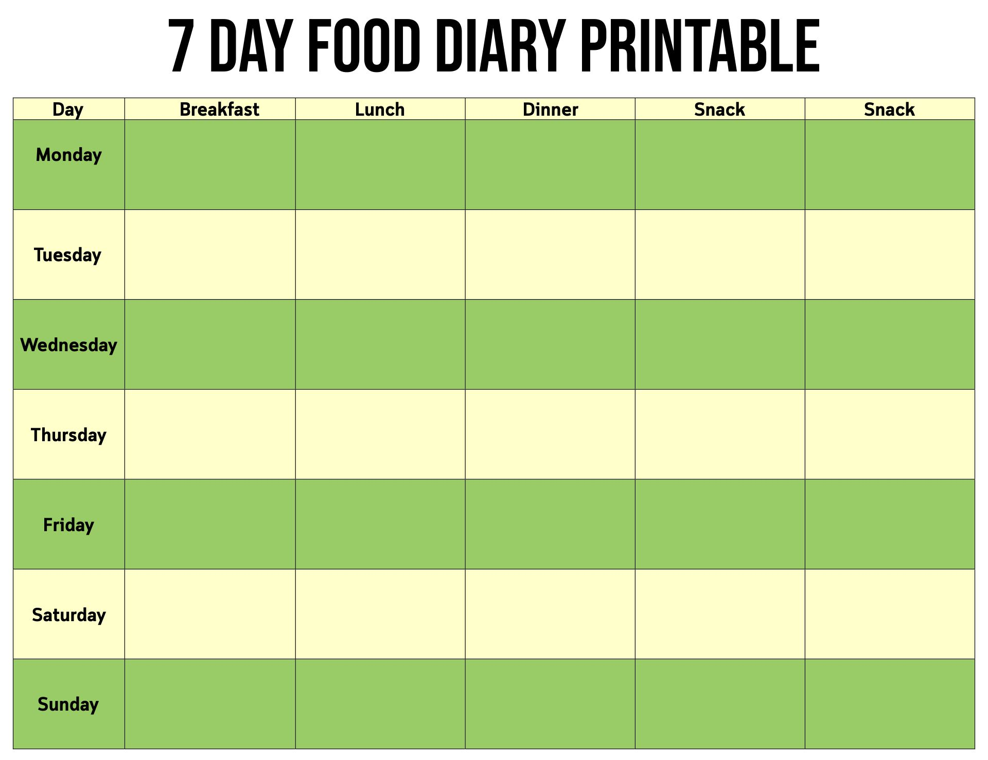 7-Day Food Diary Printable