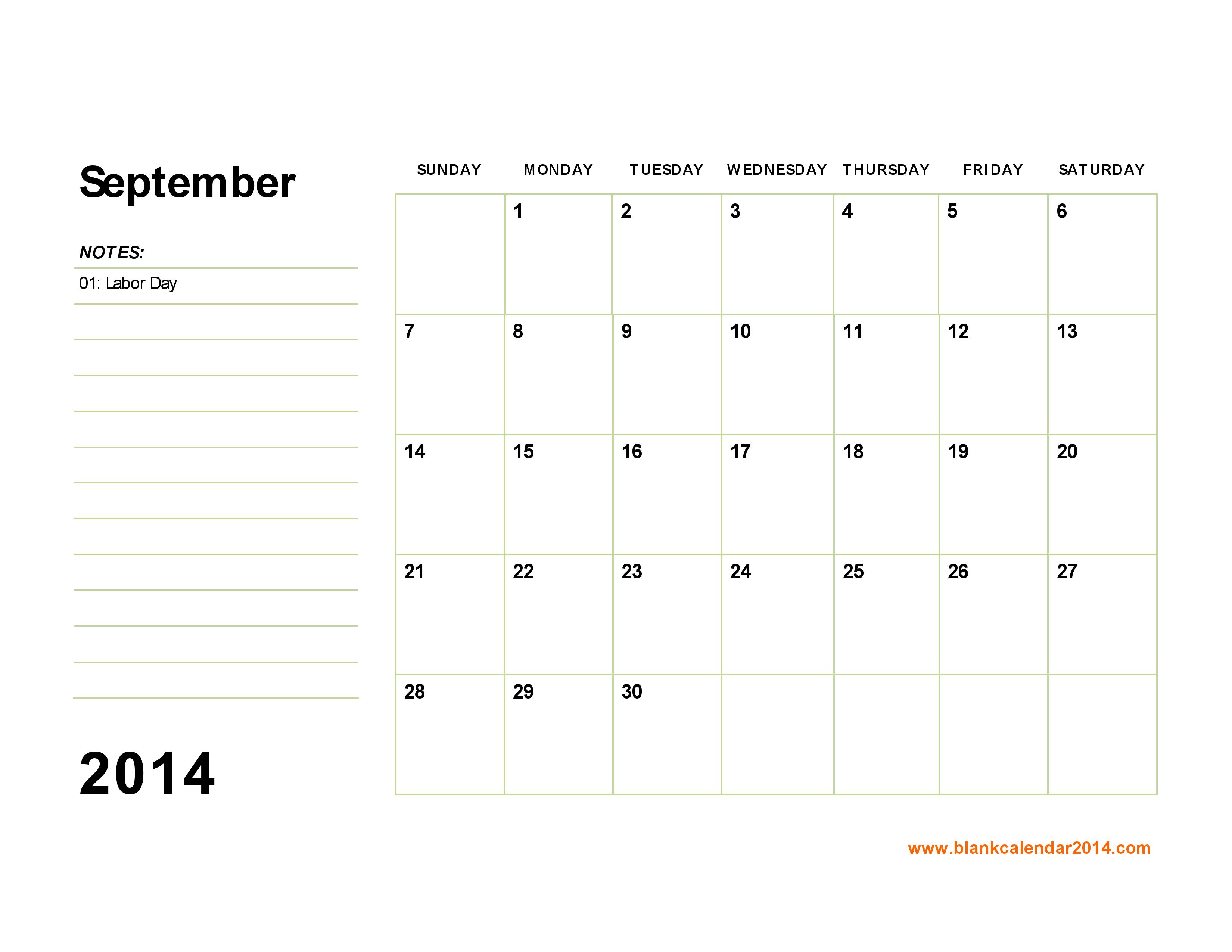fillable calendar template 2014 - 9 best images of september 2014 calendar printable