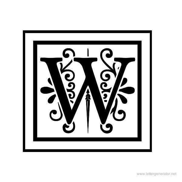 Decorative Alphabet Coloring Pages : Best images of printable letter w fonts cursive