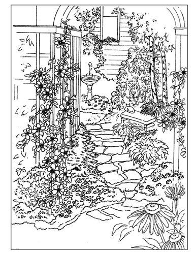 5 best images of adult garden coloring pages printable for Garden coloring page