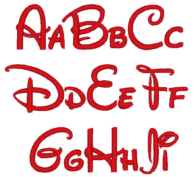 Disney Letter Font Embroidery