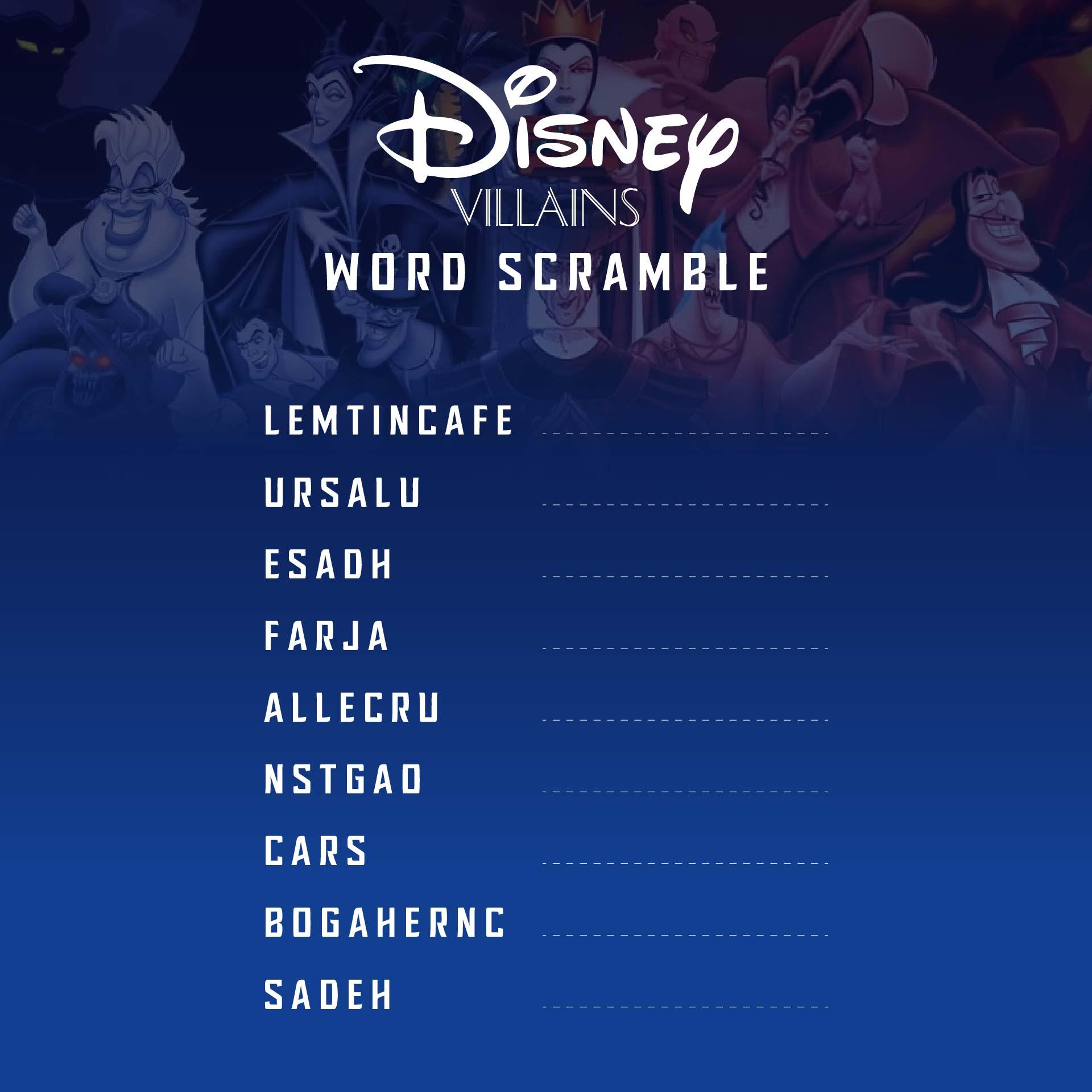 Disney Word Scramble Printable