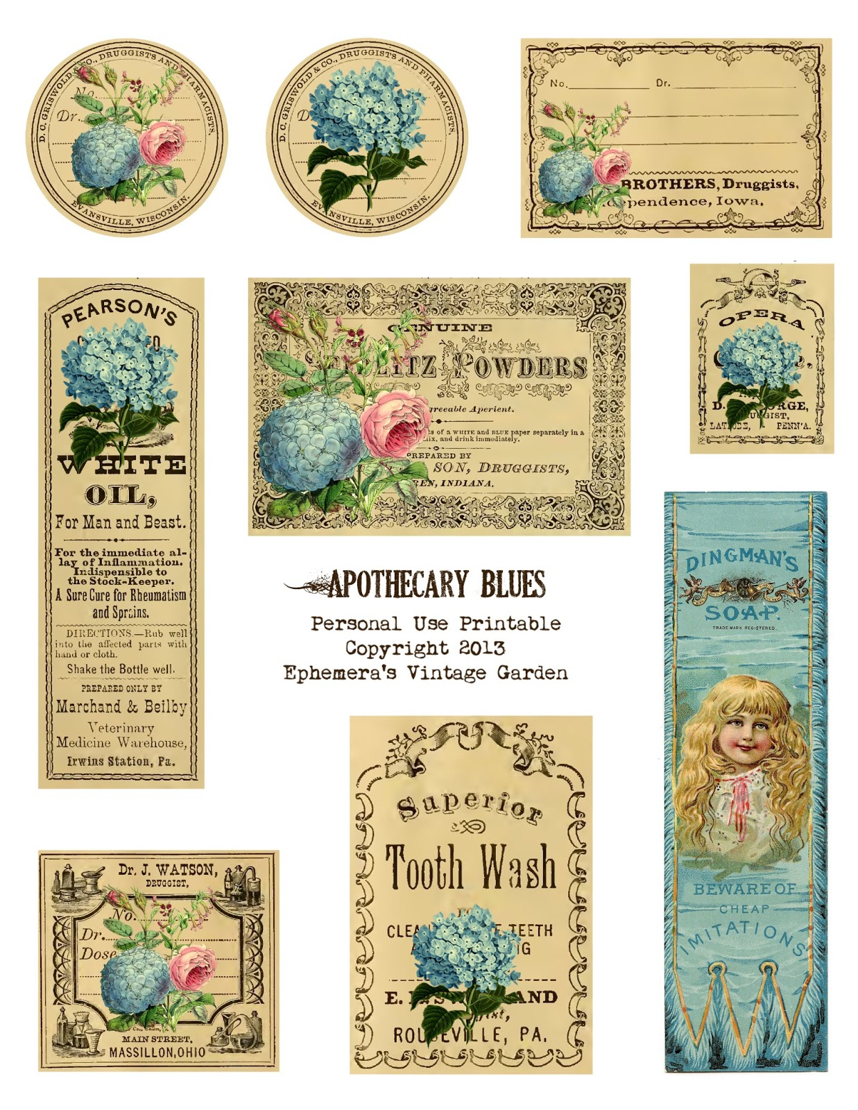 7 Images of Free Printable Vintage Apothecary Labels