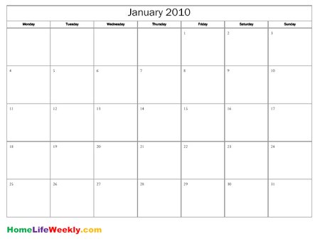 Free Printable Blank Monthly Calendar Pages