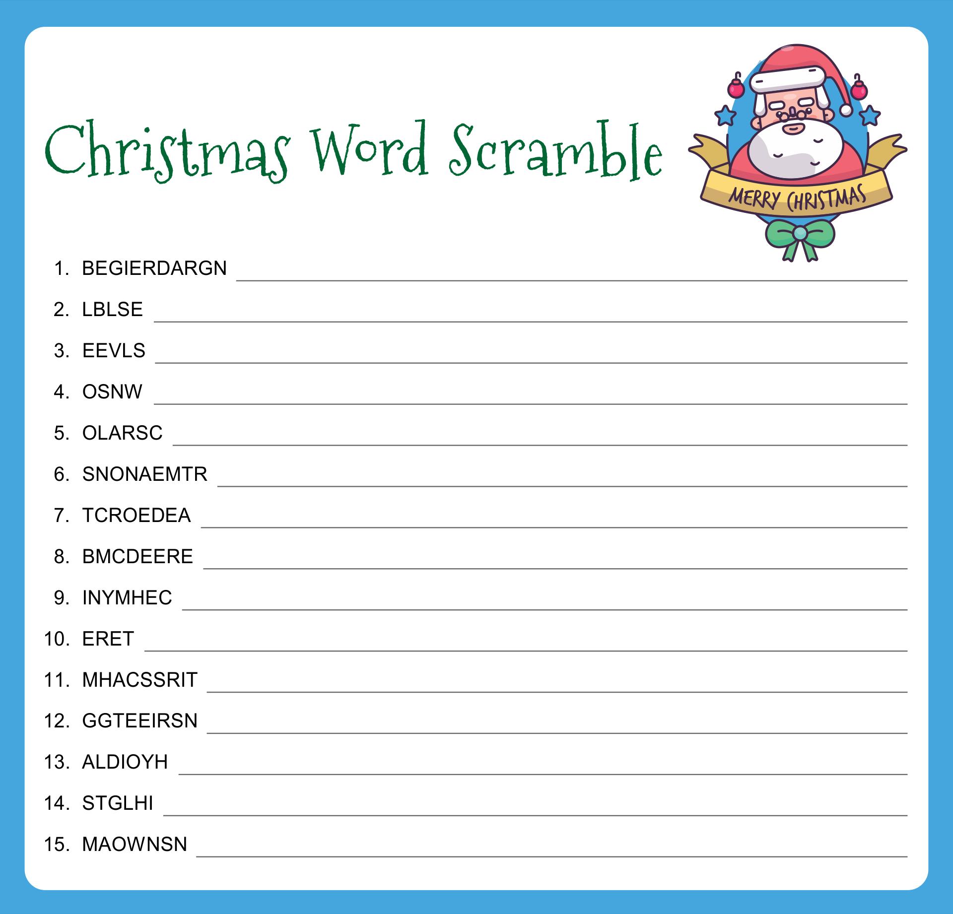 Printable Christmas Word Scramble Game