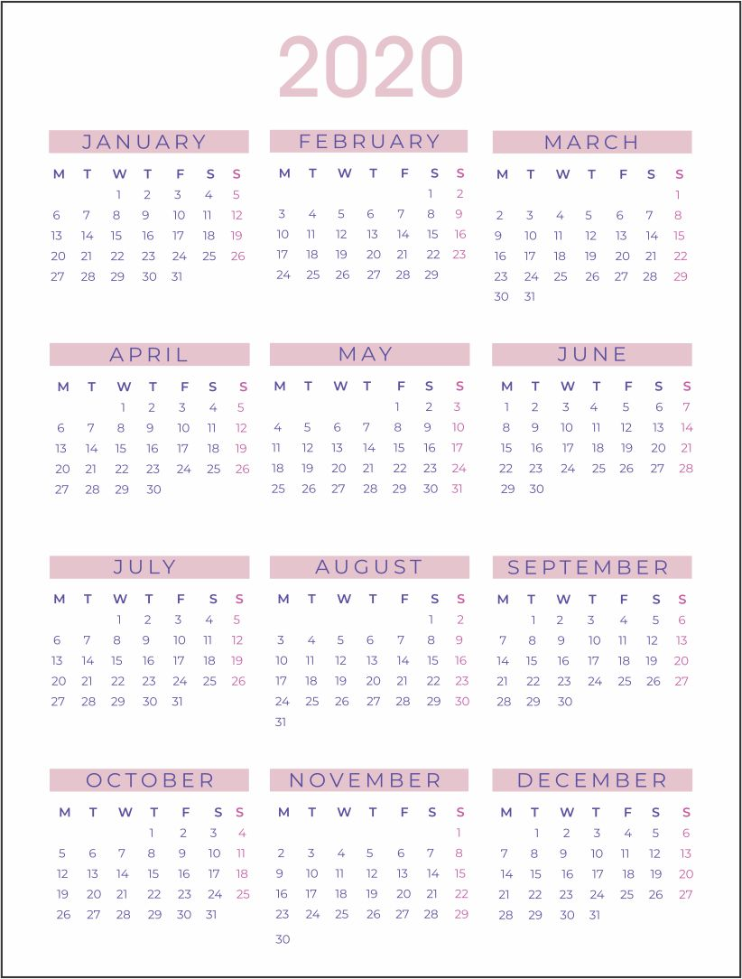Printablee.com Yearly Calendars 2020 Printable