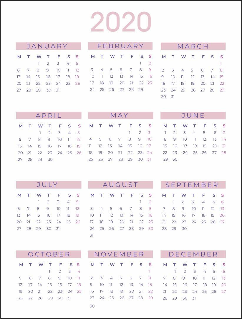 Printablee.com Yearly Calendars 2020 Printable