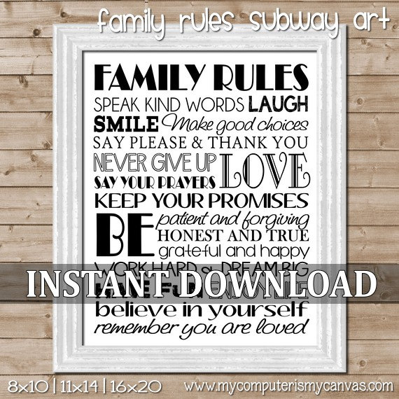 7 Images of Family Rules Subway Art Printable
