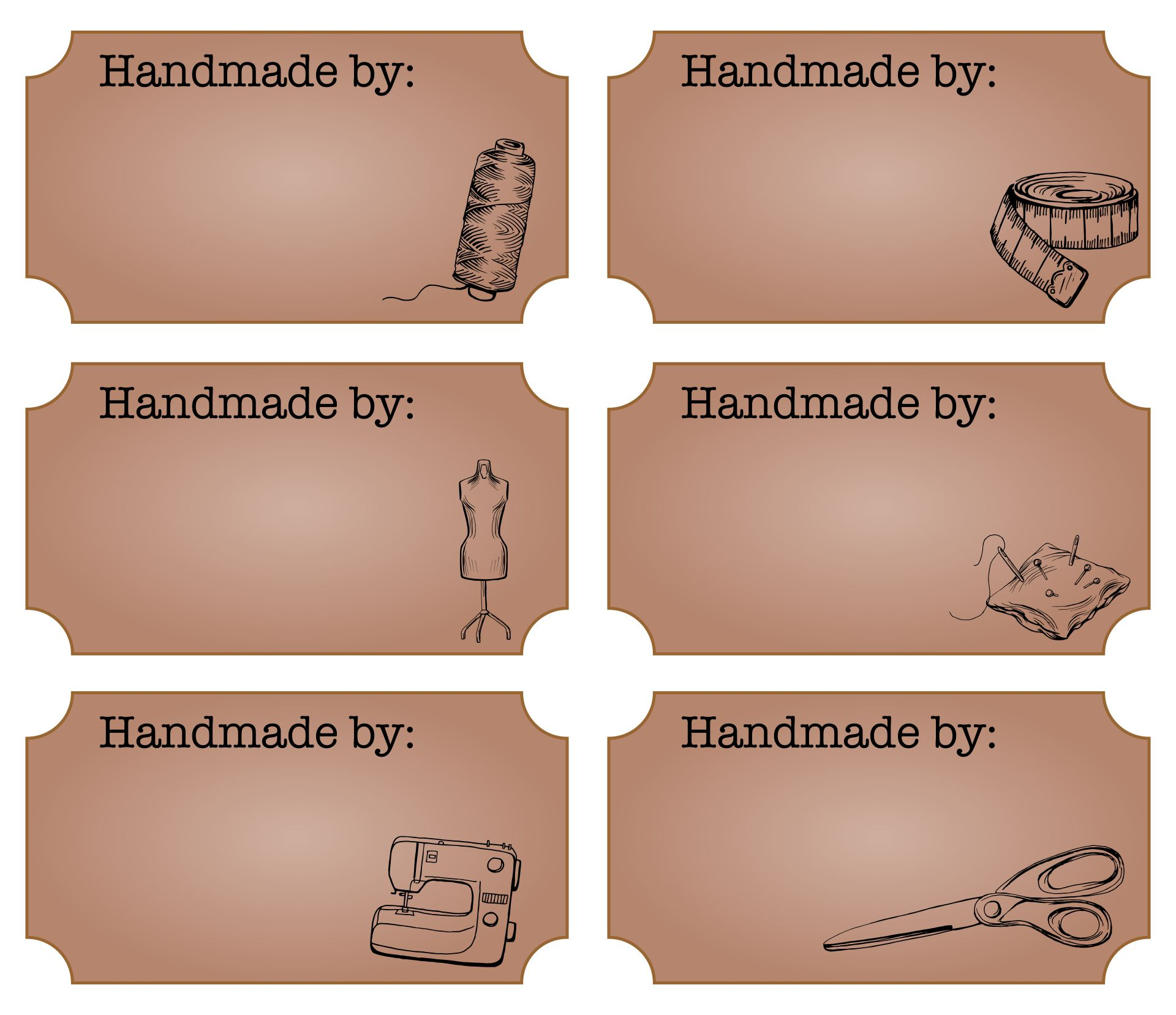 Printable Handmade by Labels